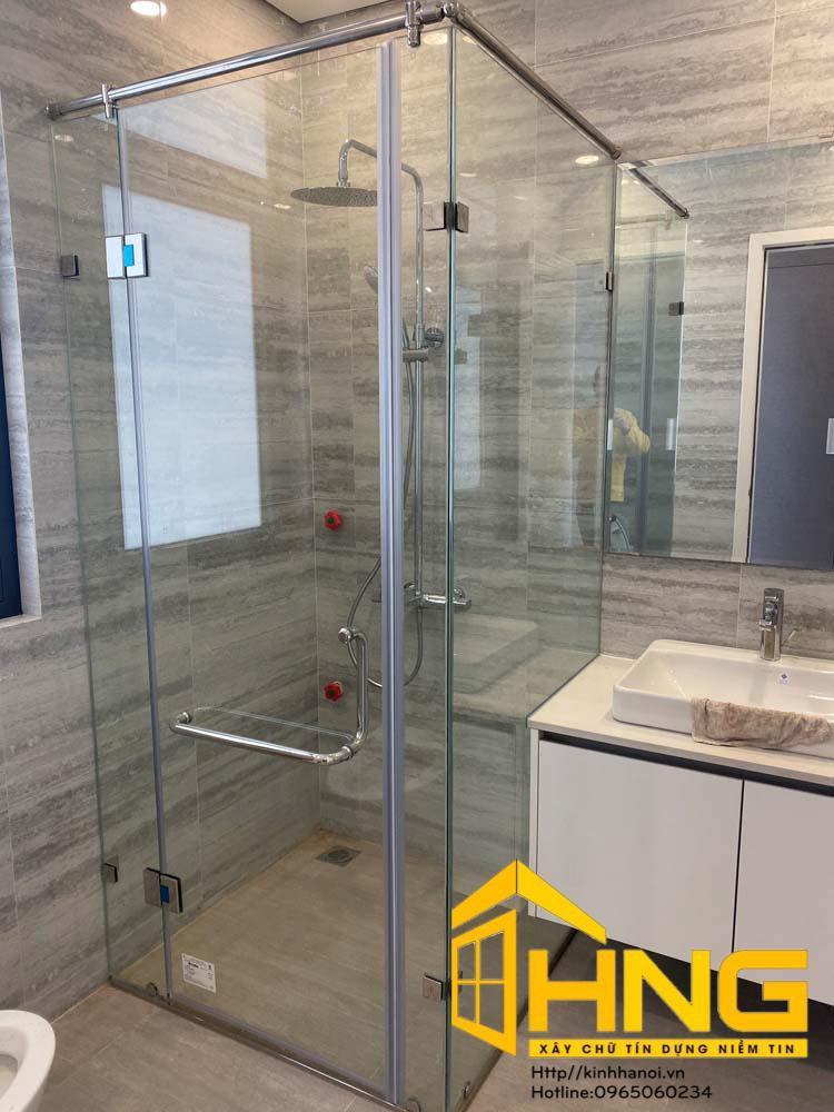 Vách kính cabin tắm bộ 90 độ vuông góc 3 tấm